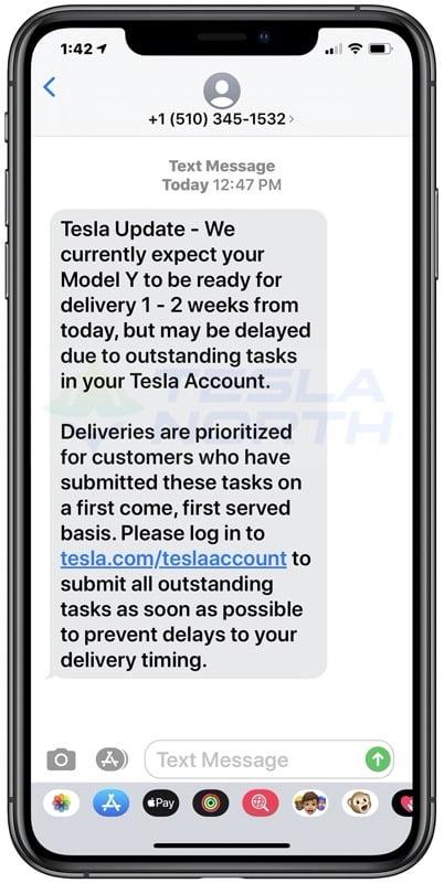 Tesla model y text canada