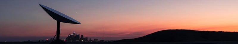 Starlink terminal sunset