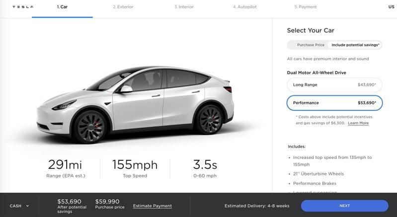 Tesla model y usa