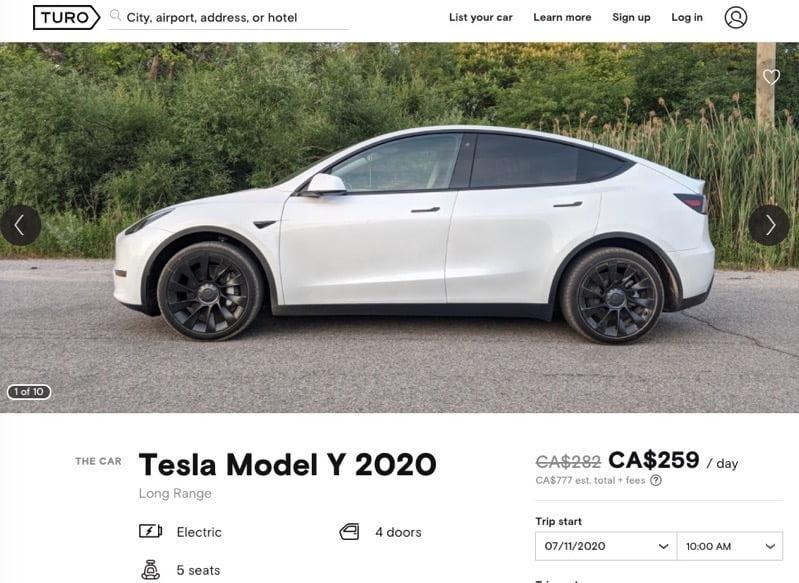 Tesla turo model y 2020