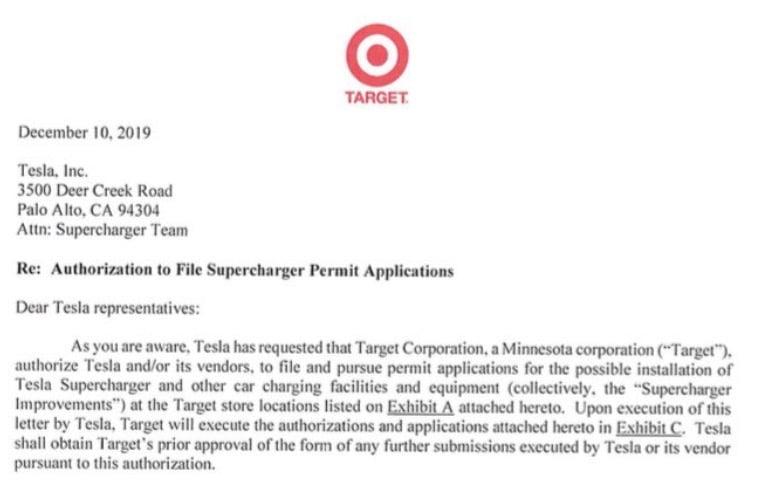 Target tesla superchargers