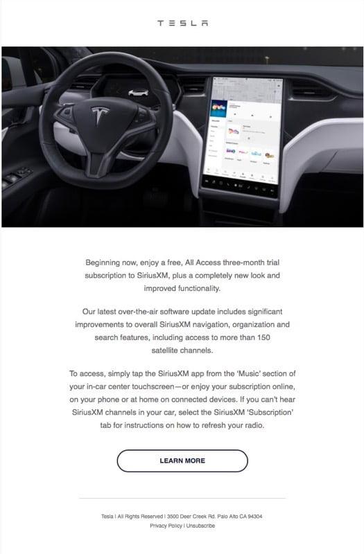 Tesla sirius xm