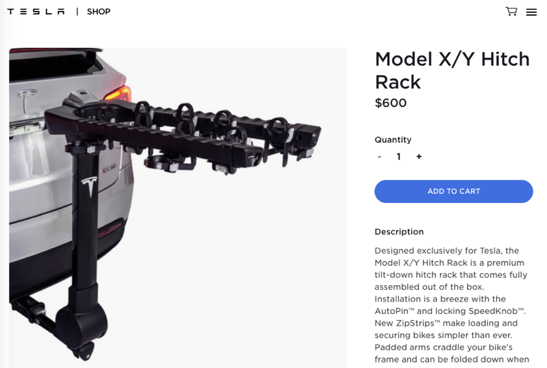 Tesla model y x hitch rack