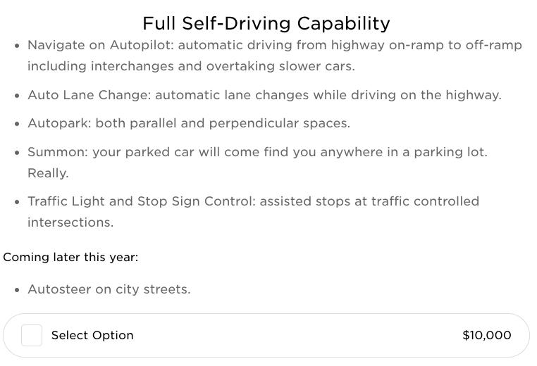 Full self driving $10 000