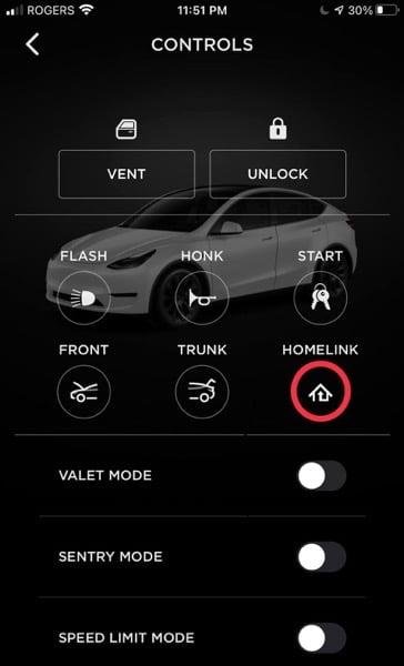Homelink tesla app