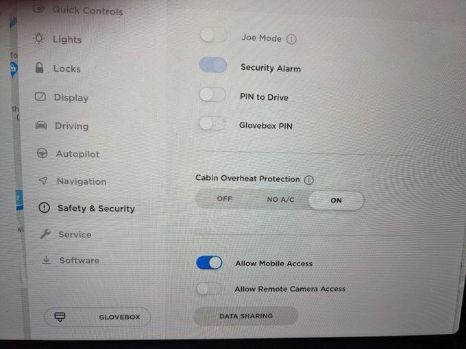 Allow mobile access tesla
