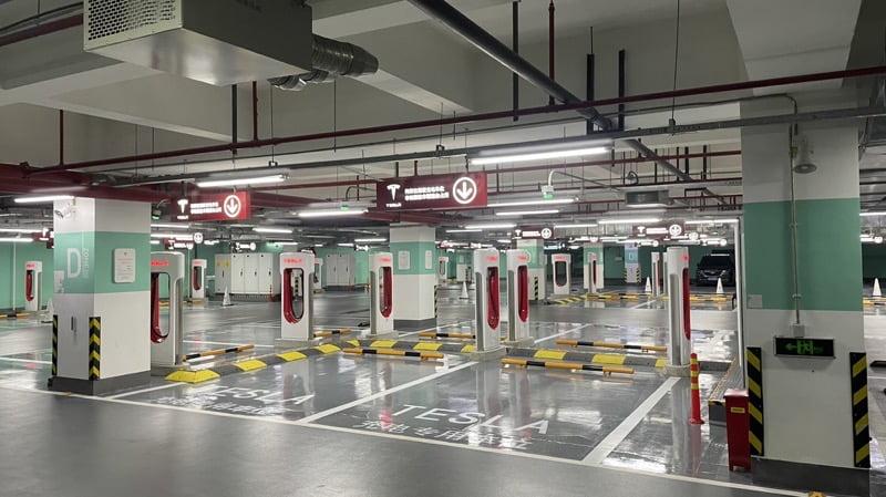 Tesla supercharger shanghai world s largest