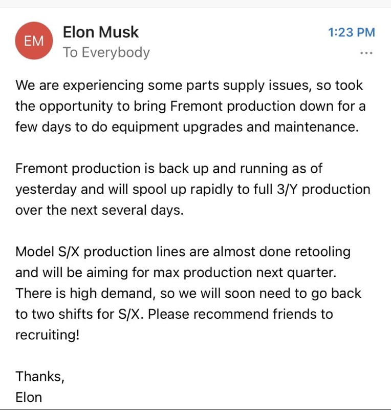 Elon musk email fremont
