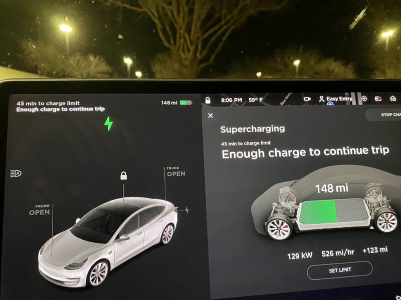 Enough charge to continue trip