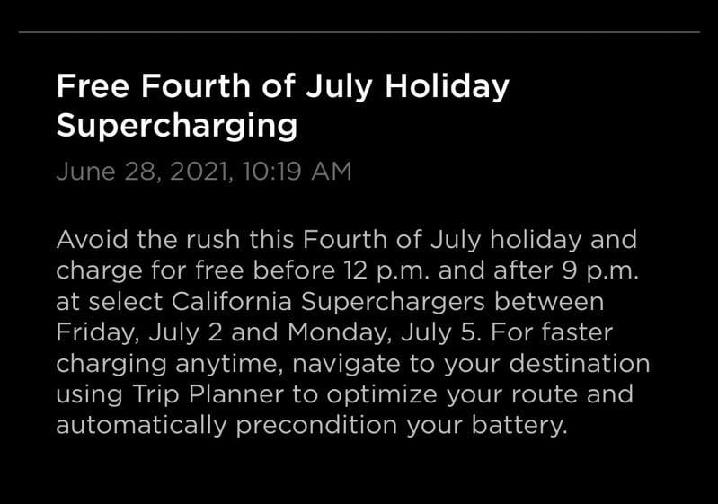Tesla free charging july 4