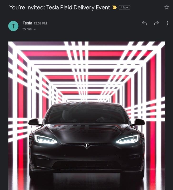 Tesla model s plaid delivery event