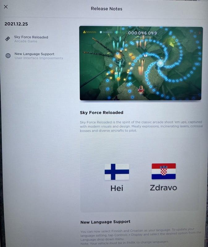 2021 12 25 software update tesla